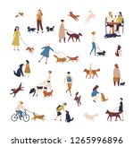 Stock vector crowd of tiny people walking their dogs on street group of men and women with pets or domestic 1265996896