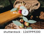 paper cards with numbers lie on ... | Shutterstock . vector #1265999200