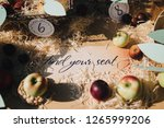 paper cards with numbers lie on ... | Shutterstock . vector #1265999206
