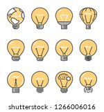 large linear set of bulb icons. ... | Shutterstock .eps vector #1266006016