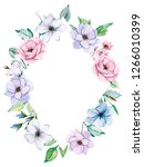 watercolor floral frame  spring ... | Shutterstock . vector #1266010399