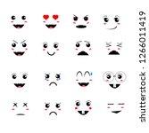 cartoon kawaii eyes and mouths. ... | Shutterstock .eps vector #1266011419