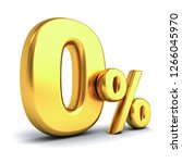 gold zero percent or 0  ... | Shutterstock . vector #1266045970
