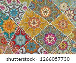 vector patchwork quilt pattern. ... | Shutterstock .eps vector #1266057730