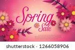 spring sale banner with leaf...   Shutterstock .eps vector #1266058906