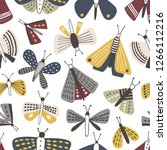 seamless pattern with moths on... | Shutterstock .eps vector #1266112216