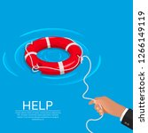 the hand throws a lifebuoy....   Shutterstock .eps vector #1266149119