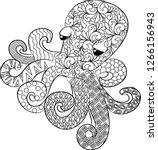 vector illustration  octopus... | Shutterstock .eps vector #1266156943