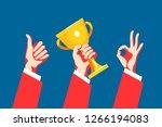 set of hand gestures. victory... | Shutterstock .eps vector #1266194083