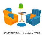 two cozy chairs. home colorful... | Shutterstock .eps vector #1266197986