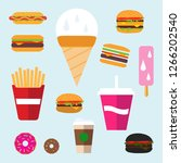flat fast food colorful... | Shutterstock .eps vector #1266202540