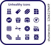 unhealthy icon set. 16 filled...   Shutterstock .eps vector #1266219649