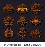 vintage black logos and emblems ... | Shutterstock .eps vector #1266230209