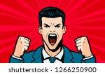 man screaming loudly. cartoon... | Shutterstock .eps vector #1266250900
