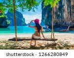 traveler woman in bikini... | Shutterstock . vector #1266280849