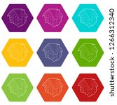 small hut icons 9 set coloful... | Shutterstock .eps vector #1266312340