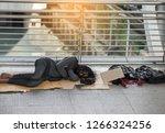 The Homeless Man Sleeps On The...