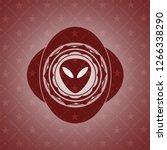 alien icon inside red emblem.... | Shutterstock .eps vector #1266338290
