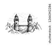 fantasy mountain bridge castle... | Shutterstock .eps vector #1266342286