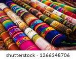 bright colors of otavalo market | Shutterstock . vector #1266348706