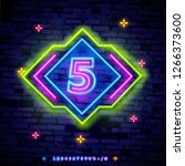 number five symbol neon sign... | Shutterstock .eps vector #1266373600