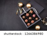 luxury chocolate truffles in a ... | Shutterstock . vector #1266386980