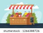 flat street vegetable and fruit ... | Shutterstock .eps vector #1266388726