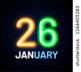 neon text 26 january on blue... | Shutterstock .eps vector #1266405283