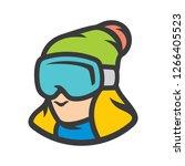 snowboarding girl sign | Shutterstock .eps vector #1266405523