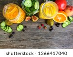 different drinks  fruits and... | Shutterstock . vector #1266417040