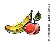 vector ink drawing fruits with... | Shutterstock .eps vector #1266420436