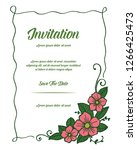 floral invitation cards with... | Shutterstock .eps vector #1266425473