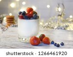 panakota with berries in the...   Shutterstock . vector #1266461920