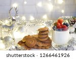 panakota with berries in a...   Shutterstock . vector #1266461926