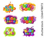 kids zone icons with caramel... | Shutterstock .eps vector #1266478873