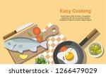 cooking consept. fried egg ... | Shutterstock .eps vector #1266479029