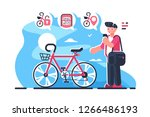 bike sharing system station on... | Shutterstock .eps vector #1266486193