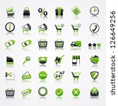shopping icons with reflection.