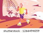 grandpa at sports suit running...   Shutterstock .eps vector #1266494059
