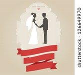 vintage wedding invitation with ... | Shutterstock .eps vector #126649970