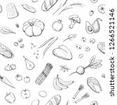 seamless pattern organic food.... | Shutterstock .eps vector #1266521146
