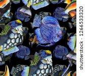 watercolor aquatic underwater...   Shutterstock . vector #1266533320