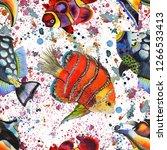 watercolor aquatic underwater...   Shutterstock . vector #1266533413