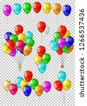 realistic color balloons set ... | Shutterstock .eps vector #1266537436