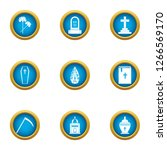 deadly ritual icons set. flat... | Shutterstock . vector #1266569170