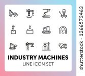 industry machines line icon set.... | Shutterstock .eps vector #1266573463