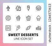 sweet desserts line icon set.... | Shutterstock .eps vector #1266573613