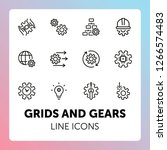 grids and gears line icons. set ... | Shutterstock .eps vector #1266574483