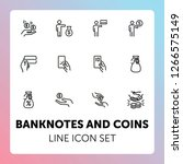 banknotes and coins line icon...   Shutterstock .eps vector #1266575149