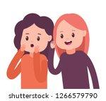girls whisper to each other... | Shutterstock .eps vector #1266579790